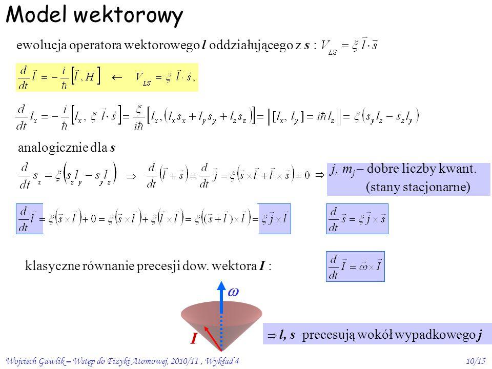 Wojciech Gawlik – Wstęp do Fizyki Atomowej, 2010/11, Wykład 410/15 Model wektorowy ewolucja operatora wektorowego l oddziałującego z s :   j, m j – dobre liczby kwant.