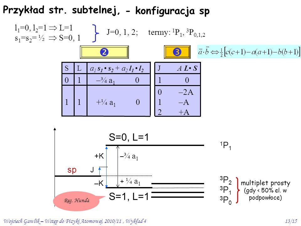 Wojciech Gawlik – Wstęp do Fizyki Atomowej, 2010/11, Wykład 413/15 +K J –K Przykład str.