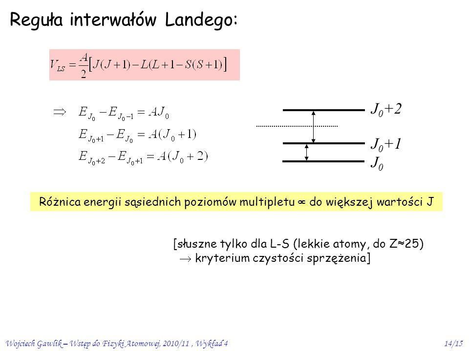 Wojciech Gawlik – Wstęp do Fizyki Atomowej, 2010/11, Wykład 414/15 Reguła interwałów Landego: Różnica energii sąsiednich poziomów multipletu  do większej wartości J [słuszne tylko dla L-S (lekkie atomy, do Z  25)  kryterium czystości sprzężenia] J 0 +2 J 0 +1 J 0