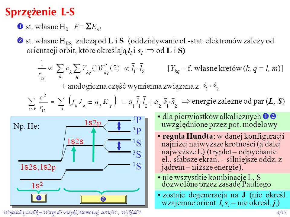 Wojciech Gawlik – Wstęp do Fizyki Atomowej, 2010/11, Wykład 44/15 Sprz ęż enie L-S  st.