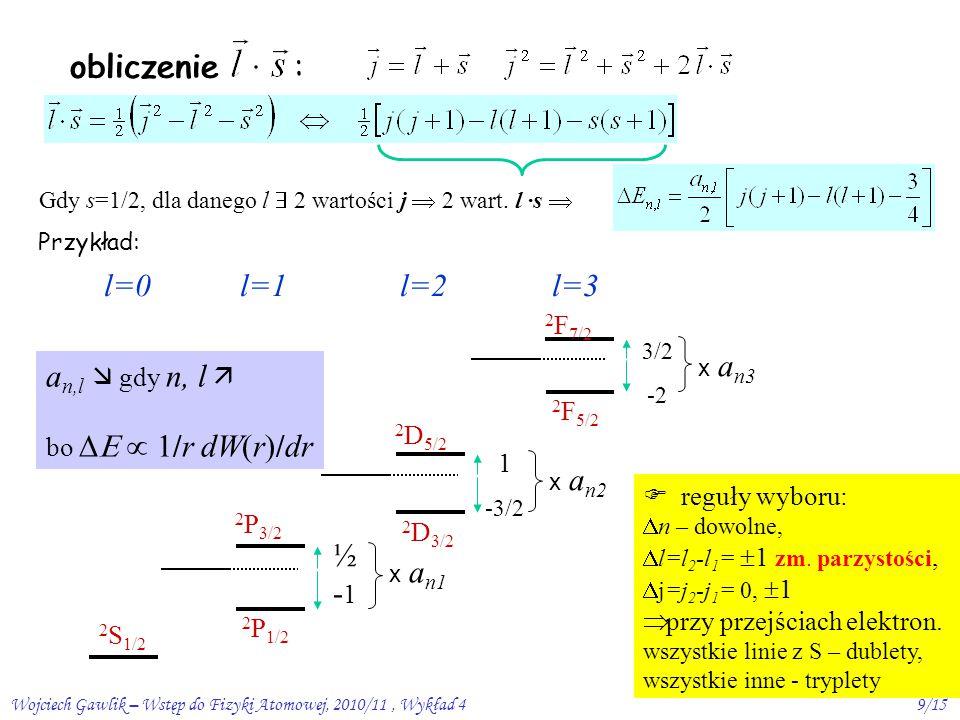 Wojciech Gawlik – Wstęp do Fizyki Atomowej, 2010/11, Wykład 49/15 obliczenie : Gdy s=1/2, dla danego l  2 wartości j  2 wart.