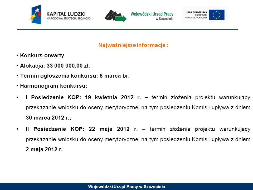 Wojewódzki Urząd Pracy w Szczecinie Najważniejsze informacje : Konkurs otwarty Alokacja: 33 000 000,00 zł.