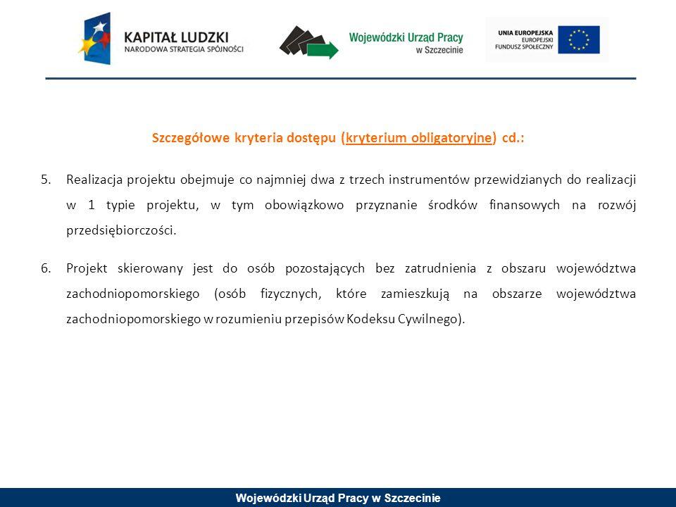 Wojewódzki Urząd Pracy w Szczecinie Szczegółowe kryteria dostępu (kryterium obligatoryjne) cd.: 5.Realizacja projektu obejmuje co najmniej dwa z trzech instrumentów przewidzianych do realizacji w 1 typie projektu, w tym obowiązkowo przyznanie środków finansowych na rozwój przedsiębiorczości.
