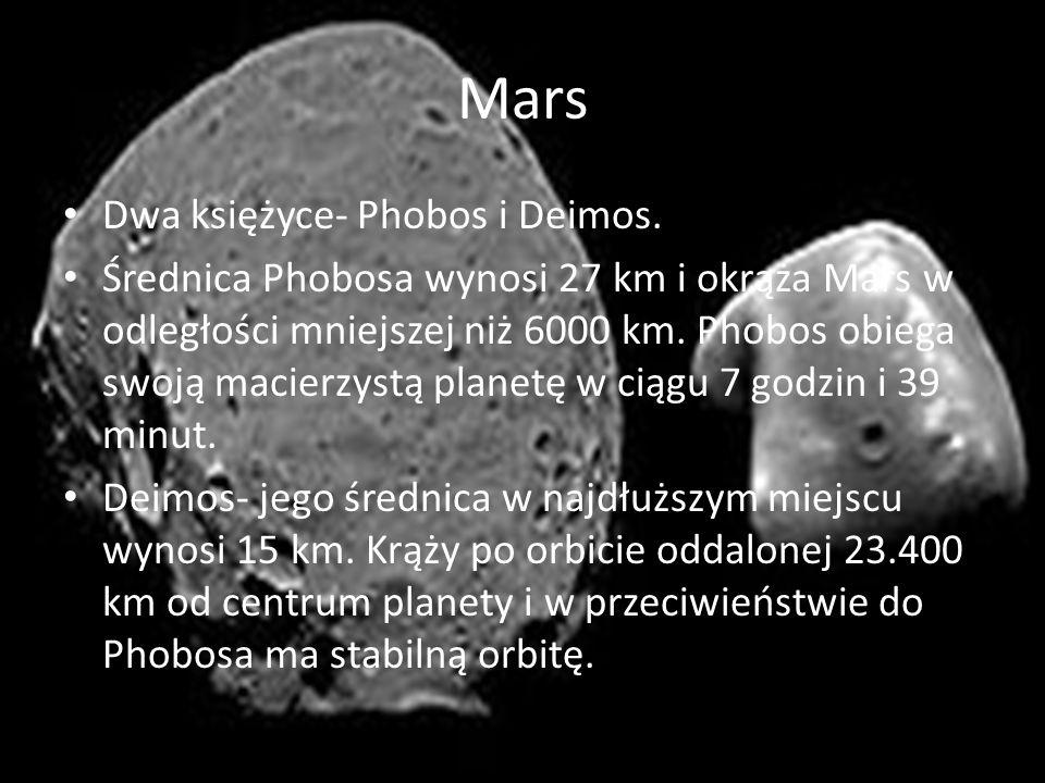 Mars Dwa księżyce- Phobos i Deimos. Średnica Phobosa wynosi 27 km i okrąża Mars w odległości mniejszej niż 6000 km. Phobos obiega swoją macierzystą pl