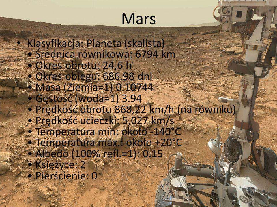 Mars Klasyfikacja: Planeta (skalista) Średnica równikowa: 6794 km Okres obrotu: 24,6 h Okres obiegu: 686.98 dni Masa (Ziemia=1) 0.10744 Gęstość (woda=