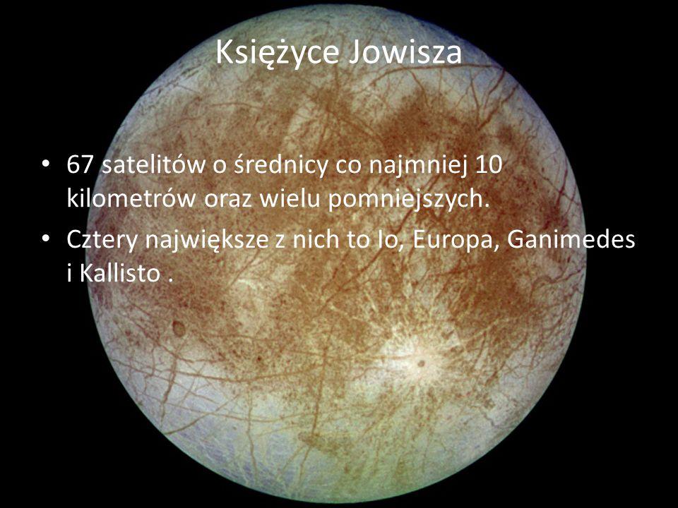 Księżyce Jowisza 67 satelitów o średnicy co najmniej 10 kilometrów oraz wielu pomniejszych. Cztery największe z nich to Io, Europa, Ganimedes i Kallis