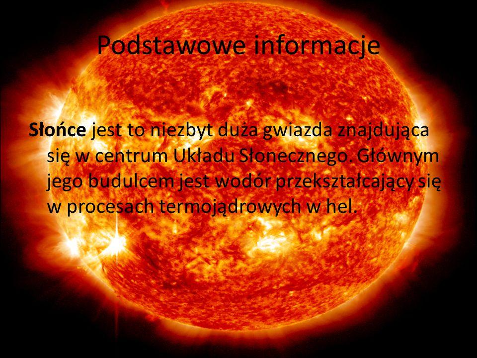 Podstawowe informacje Słońce jest to niezbyt duża gwiazda znajdująca się w centrum Układu Słonecznego. Głównym jego budulcem jest wodór przekształcają