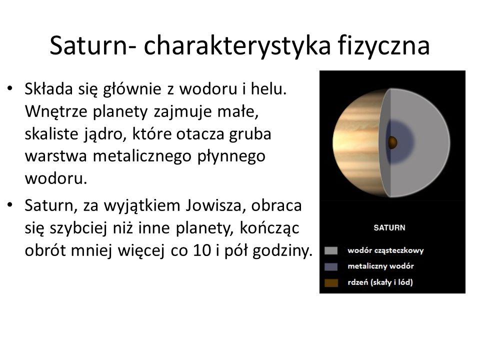 Saturn- charakterystyka fizyczna Składa się głównie z wodoru i helu. Wnętrze planety zajmuje małe, skaliste jądro, które otacza gruba warstwa metalicz