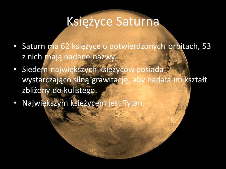 Księżyce Saturna Saturn ma 62 księżyce o potwierdzonych orbitach, 53 z nich mają nadane nazwy. Siedem największych księżyców posiada wystarczająco sil