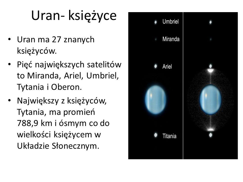 Uran- księżyce Uran ma 27 znanych księżyców. Pięć największych satelitów to Miranda, Ariel, Umbriel, Tytania i Oberon. Największy z księżyców, Tytania