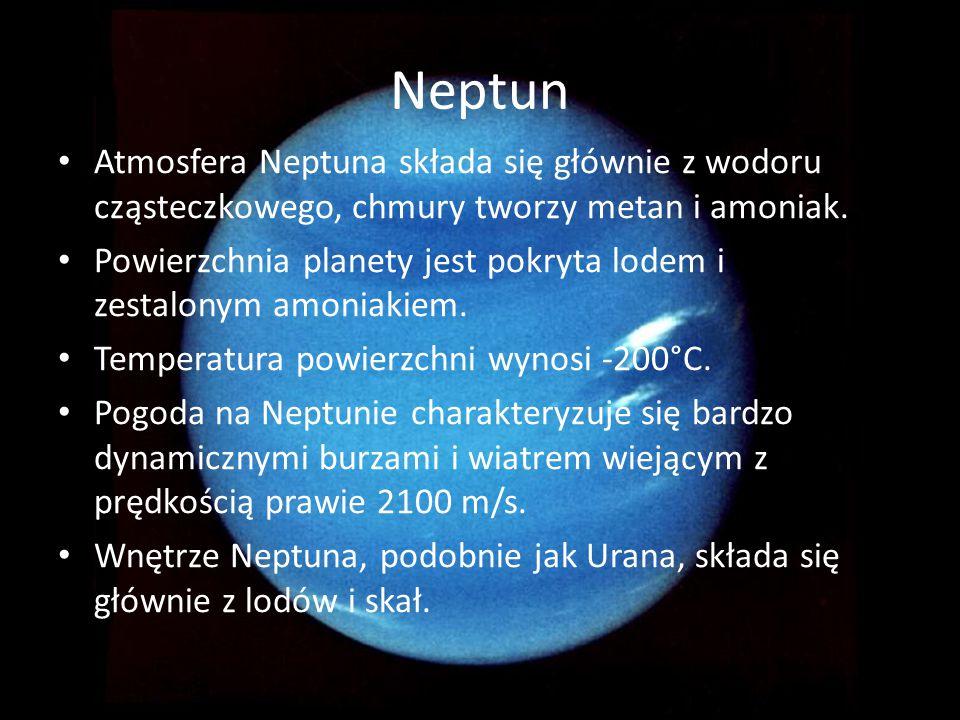 Neptun Atmosfera Neptuna składa się głównie z wodoru cząsteczkowego, chmury tworzy metan i amoniak. Powierzchnia planety jest pokryta lodem i zestalon