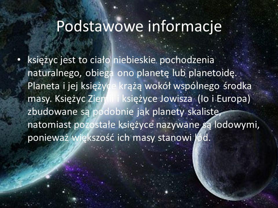 Podstawowe informacje księżyc jest to ciało niebieskie pochodzenia naturalnego, obiega ono planetę lub planetoidę. Planeta i jej księżyce krążą wokół