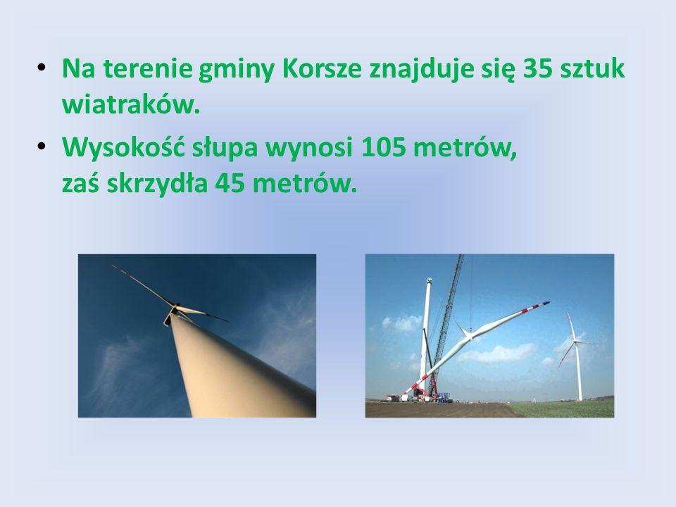 Na terenie gminy Korsze znajduje się 35 sztuk wiatraków. Wysokość słupa wynosi 105 metrów, zaś skrzydła 45 metrów.