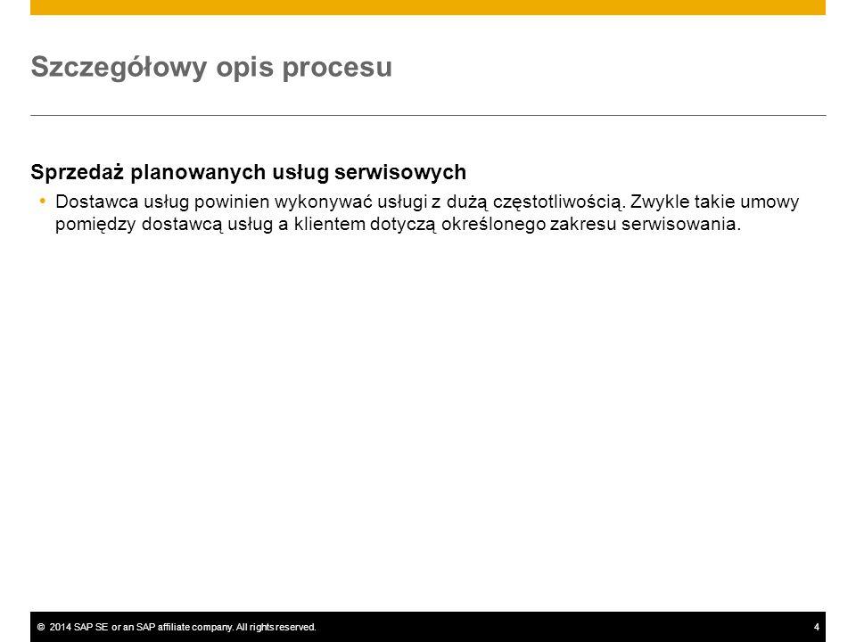©2014 SAP SE or an SAP affiliate company. All rights reserved.4 Szczegółowy opis procesu Sprzedaż planowanych usług serwisowych  Dostawca usług powin
