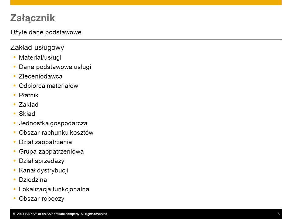 ©2014 SAP SE or an SAP affiliate company. All rights reserved.6 Załącznik Użyte dane podstawowe Zakład usługowy  Materiał/usługi  Dane podstawowe us