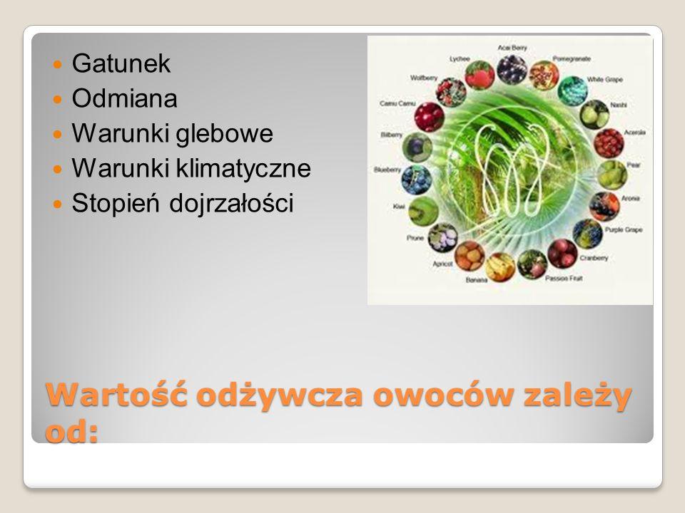 Skład chemiczny i wartość odżywcza owoców 80-90% wody 3-18% węglowodanów 0,3-5,6% błonnika Niewielkie ilości tłuszczu i białka Witaminę C ß-karoten Małe ilości wit.