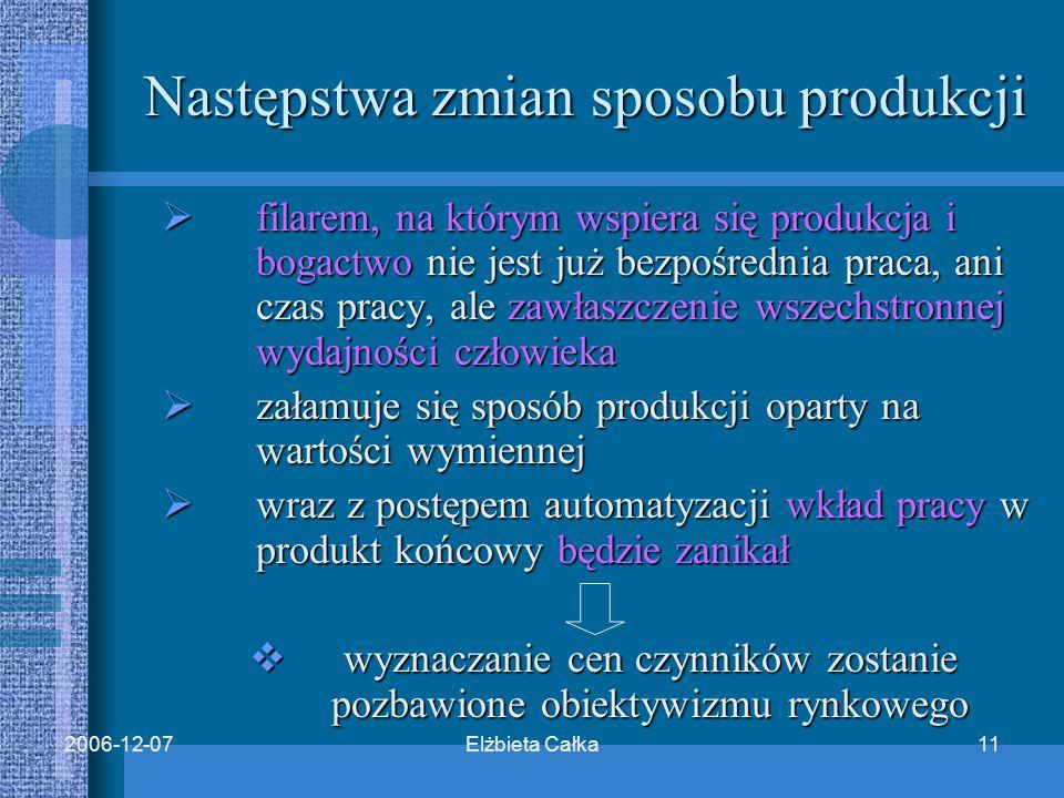 Elżbieta Całka112006-12-07 Następstwa zmian sposobu produkcji  filarem, na którym wspiera się produkcja i bogactwo nie jest już bezpośrednia praca, ani czas pracy, ale zawłaszczenie wszechstronnej wydajności człowieka  załamuje się sposób produkcji oparty na wartości wymiennej  wraz z postępem automatyzacji wkład pracy w produkt końcowy będzie zanikał  wyznaczanie cen czynników zostanie pozbawione obiektywizmu rynkowego
