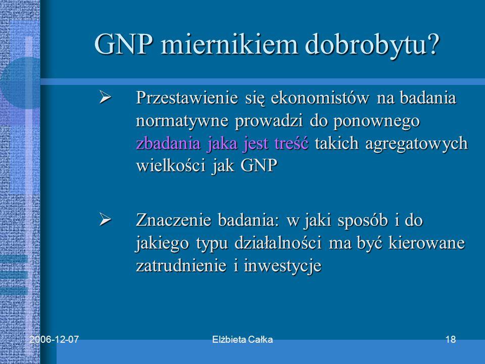 Elżbieta Całka182006-12-07 GNP miernikiem dobrobytu.