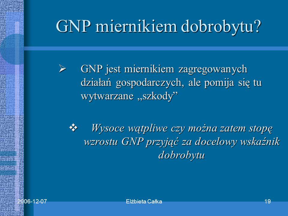 Elżbieta Całka192006-12-07 GNP miernikiem dobrobytu.