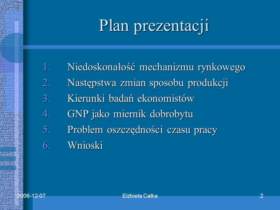 Elżbieta Całka22006-12-07 Plan prezentacji 1.Niedoskonałość mechanizmu rynkowego 2.Następstwa zmian sposobu produkcji 3.Kierunki badań ekonomistów 4.GNP jako miernik dobrobytu 5.Problem oszczędności czasu pracy 6.Wnioski