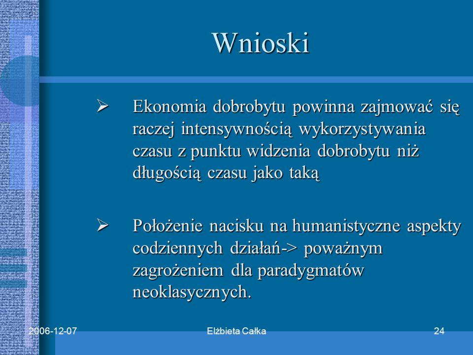 Elżbieta Całka242006-12-07 Wnioski  Ekonomia dobrobytu powinna zajmować się raczej intensywnością wykorzystywania czasu z punktu widzenia dobrobytu niż długością czasu jako taką  Położenie nacisku na humanistyczne aspekty codziennych działań-> poważnym zagrożeniem dla paradygmatów neoklasycznych.