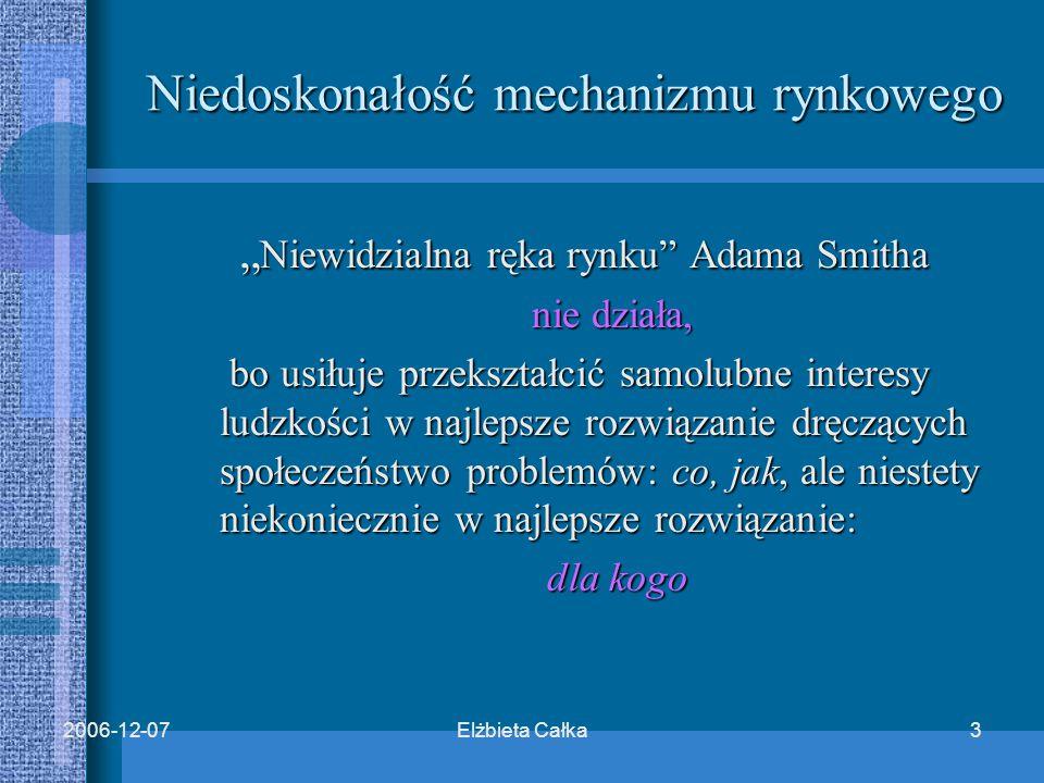 """Elżbieta Całka32006-12-07 Niedoskonałość mechanizmu rynkowego """" Niewidzialna ręka rynku Adama Smitha """" Niewidzialna ręka rynku Adama Smitha nie działa, nie działa, bo usiłuje przekształcić samolubne interesy ludzkości w najlepsze rozwiązanie dręczących społeczeństwo problemów: co, jak, ale niestety niekoniecznie w najlepsze rozwiązanie: bo usiłuje przekształcić samolubne interesy ludzkości w najlepsze rozwiązanie dręczących społeczeństwo problemów: co, jak, ale niestety niekoniecznie w najlepsze rozwiązanie: dla kogo dla kogo"""