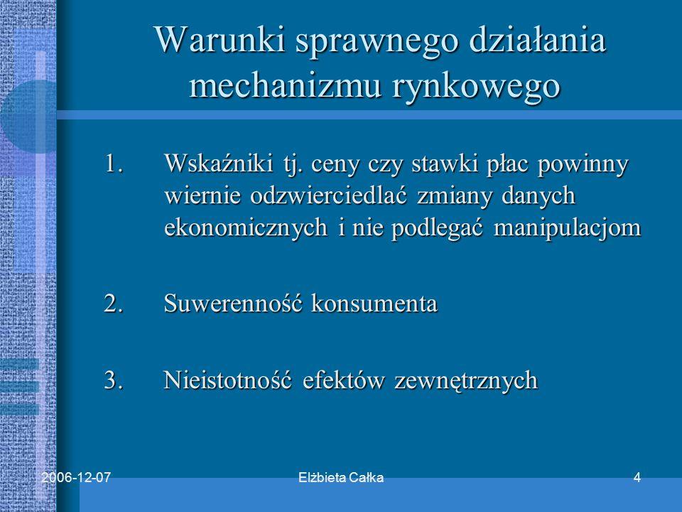 Elżbieta Całka52006-12-07 Wskaźniki nie odzwierciedlają zmian danych ekonomicznych, ponieważ:  Praktyka cen administrowanych  Powszechnie znana sztywność stawek płac i stóp procentowych
