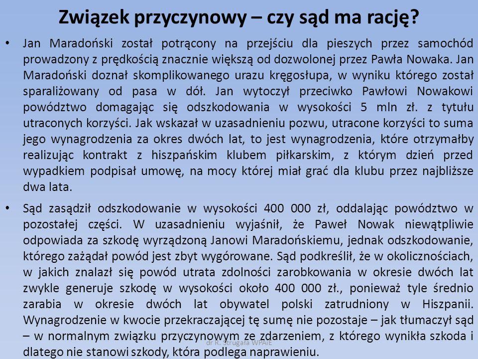 Związek przyczynowy – czy sąd ma rację? Jan Maradoński został potrącony na przejściu dla pieszych przez samochód prowadzony z prędkością znacznie więk