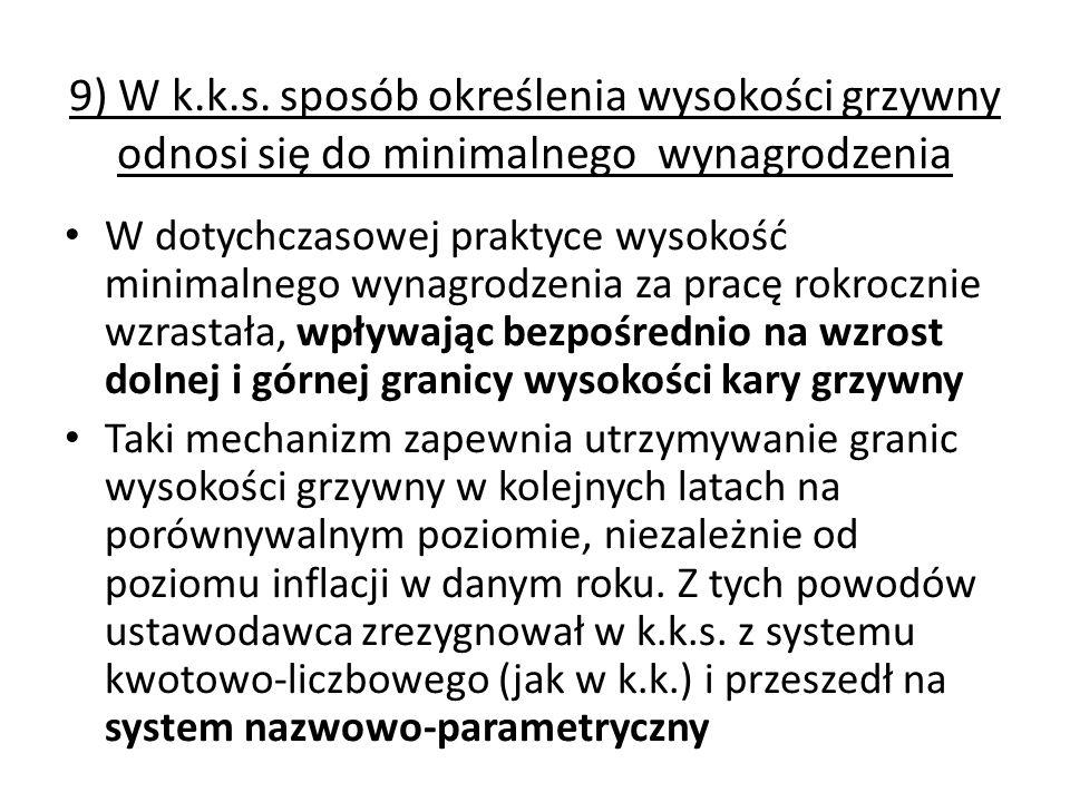 9) W k.k.s. sposób określenia wysokości grzywny odnosi się do minimalnego wynagrodzenia W dotychczasowej praktyce wysokość minimalnego wynagrodzenia z