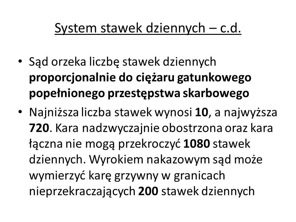 System stawek dziennych – c.d. Sąd orzeka liczbę stawek dziennych proporcjonalnie do ciężaru gatunkowego popełnionego przestępstwa skarbowego Najniższ