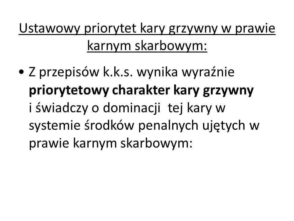 Ustawowy priorytet kary grzywny w prawie karnym skarbowym: Z przepisów k.k.s.