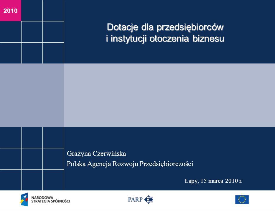 2010 Łapy, 15 marca 2010 r. Grażyna Czerwińska Polska Agencja Rozwoju Przedsiębiorczości Dotacje dla przedsiębiorców i instytucji otoczenia biznesu