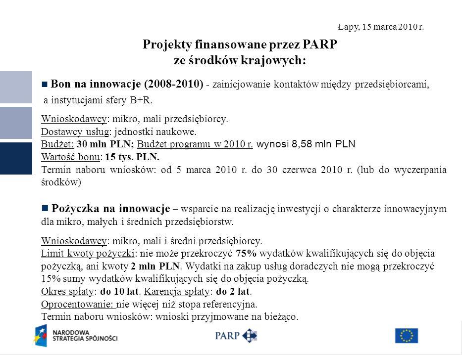 Łapy, 15 marca 2010 r. Projekty finansowane przez PARP ze środków krajowych: Bon na innowacje (2008-2010) - zainicjowanie kontaktów między przedsiębio