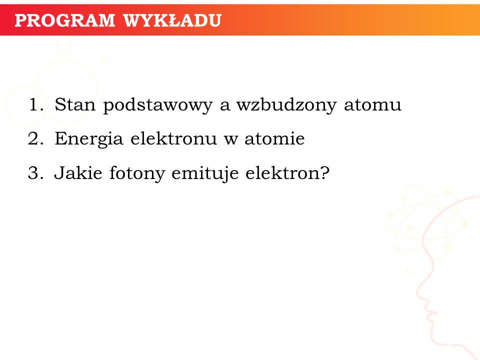 PROGRAM WYKŁADU 1.Stan podstawowy a wzbudzony atomu 2.Energia elektronu w atomie 3.Jakie fotony emituje elektron? informatyka + 3