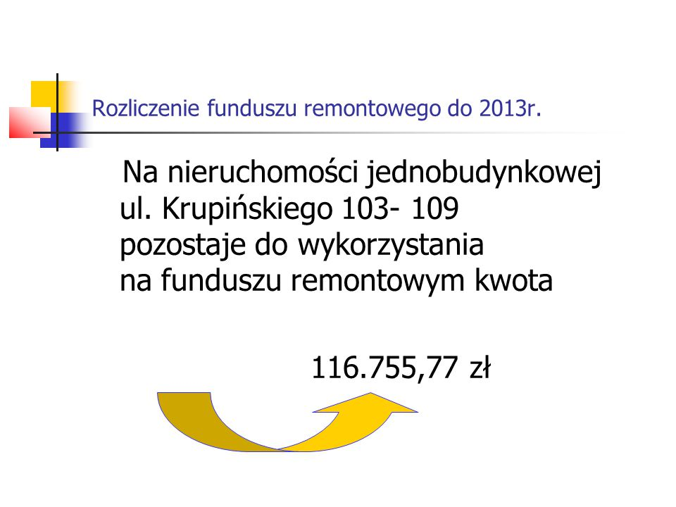 Rozliczenie funduszu remontowego do 2013r. Na nieruchomości jednobudynkowej ul. Krupińskiego 103- 109 pozostaje do wykorzystania na funduszu remontowy