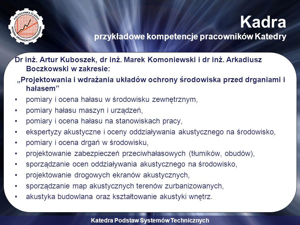 Katedra Podstaw Systemów Technicznych Kadra przykładowe kompetencje pracowników Katedry Dr inż.
