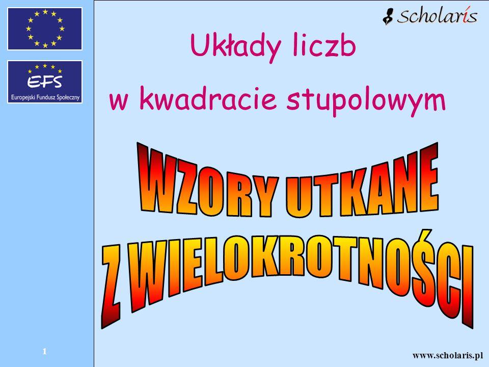 www.scholaris.pl 1 Układy liczb w kwadracie stupolowym