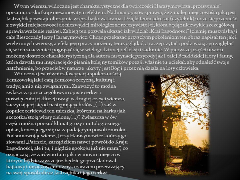 """W tym wierszu widoczne jest charakterystyczne dla twórczości Harasymowicza """"przesycenie"""" opisami, co skutkuje niesamowitym efektem. Nadmiar opisów spr"""