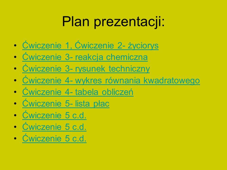 Plan prezentacji: Ćwiczenie 1, Ćwiczenie 2- życiorys Ćwiczenie 3- reakcja chemiczna Ćwiczenie 3- rysunek techniczny Ćwiczenie 4- wykres równania kwadr