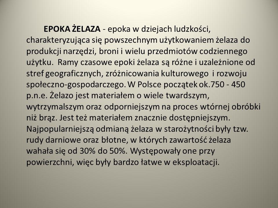 EPOKA ŻELAZA - epoka w dziejach ludzkości, charakteryzująca się powszechnym użytkowaniem żelaza do produkcji narzędzi, broni i wielu przedmiotów codzi