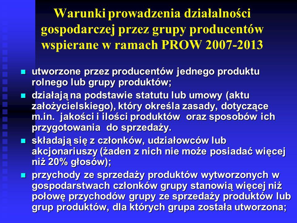 Warunki kwalifikowalności w ramach PROW 2014-2020 utworzone przez producentów jednego produktu rolnego lub grupy produktów, którzy nie byli członkami grupy utworzonej ze względu na ten sam produkt lub grupę produktów, której przyznano pomoc na rozpoczęcie działalności ze środków UE po 1 maja 2004; utworzone przez producentów jednego produktu rolnego lub grupy produktów, którzy nie byli członkami grupy utworzonej ze względu na ten sam produkt lub grupę produktów, której przyznano pomoc na rozpoczęcie działalności ze środków UE po 1 maja 2004; grupa lub organizacja jest uznana na poziomie kraju na podstawie biznesplanu i deklaruje jego realizację.