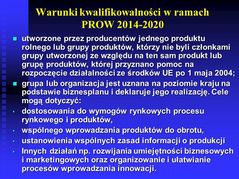 W ramach PROW 2007-2013 o pomoc mogły się ubiegać grupy producentów rolnych zarejestrowane w okresie od 1 stycznia 2007 r.