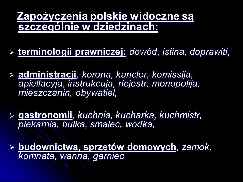 Zapożyczenia polskie widoczne są szczególnie w dziedzinach: Zapożyczenia polskie widoczne są szczególnie w dziedzinach:  terminologii prawniczej: dowód, istina, doprawiti,  administracji, korona, kancler, komissija, apiellacyja, instrukcuja, riejestr, monopolija, mieszczanin, obywatiel,  gastronomii, kuchnia, kucharka, kuchmistr, piekarnia, bułka, smalec, wodka,  budownictwa, sprzętów domowych, zamok, komnata, wanna, garniec