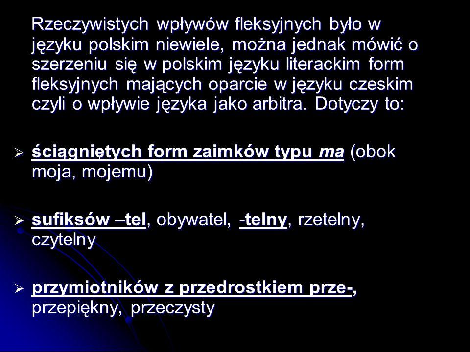 Rzeczywistych wpływów fleksyjnych było w języku polskim niewiele, można jednak mówić o szerzeniu się w polskim języku literackim form fleksyjnych mających oparcie w języku czeskim czyli o wpływie języka jako arbitra.