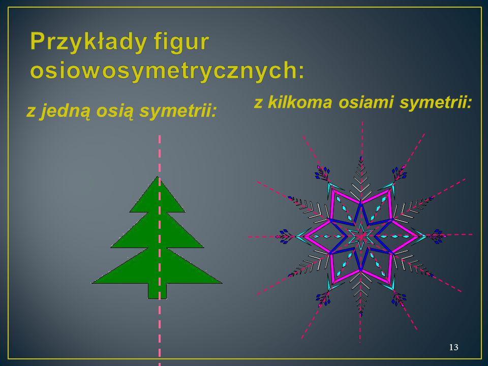 z jedną osią symetrii: 13 z kilkoma osiami symetrii: