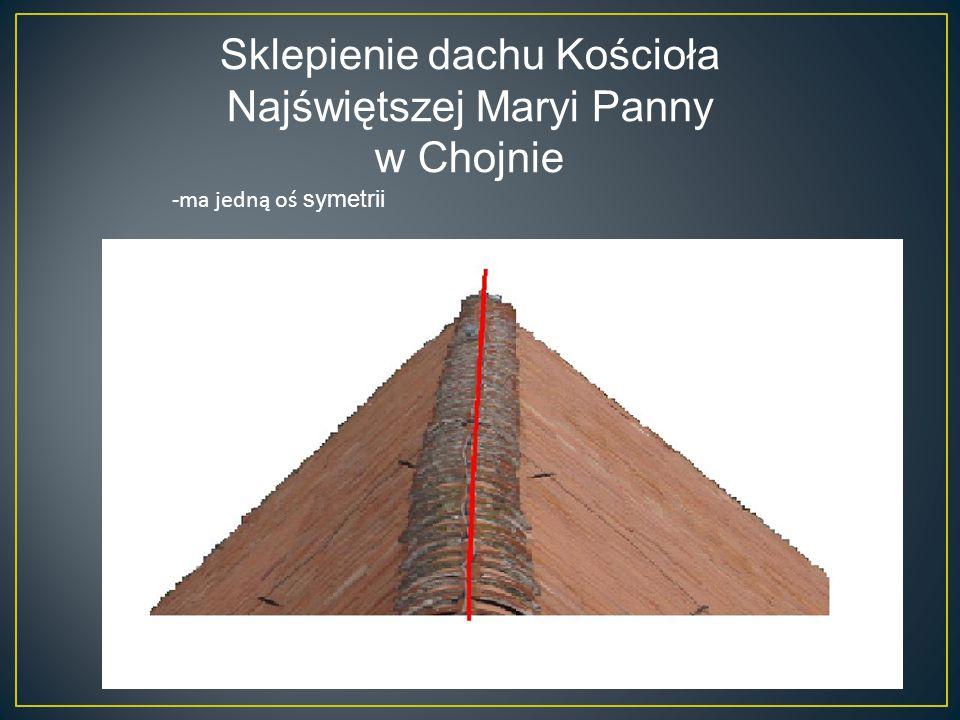 Sklepienie dachu Kościoła Najświętszej Maryi Panny w Chojnie -ma jedną oś symetrii