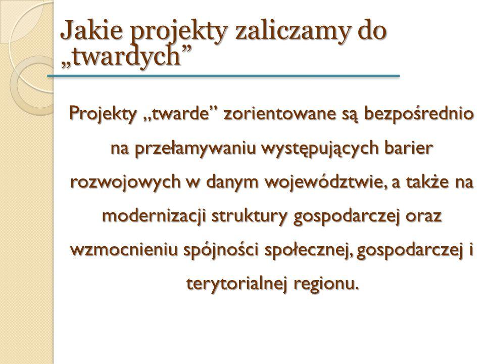"""Projekty """"twarde"""" zorientowane są bezpośrednio na przełamywaniu występujących barier rozwojowych w danym województwie, a także na modernizacji struktu"""
