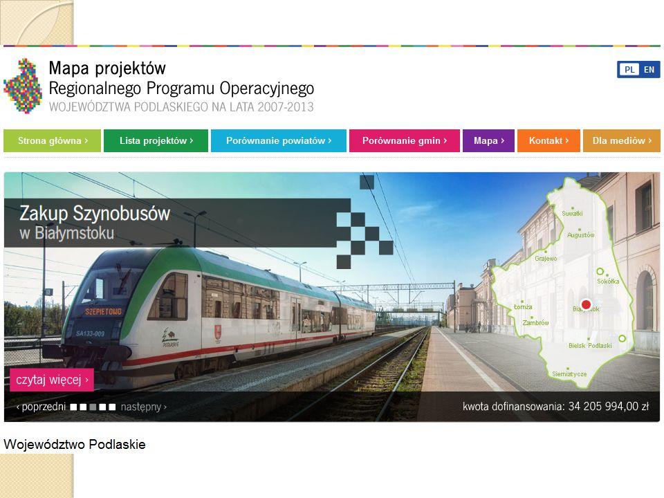 Mapa projektów RPOWP 2007-2013 Pod adresem www.efrr.wrotapodlasia.pl została uruchomiona nowa Mapa Projektów RPOWP - wyszukiwarka wszystkich realizowanych inwestycji wraz z możliwością dokonywania porównań gmin i powiatów, prezentacje najciekawszych inwestycji opatrzone zdjęciami.