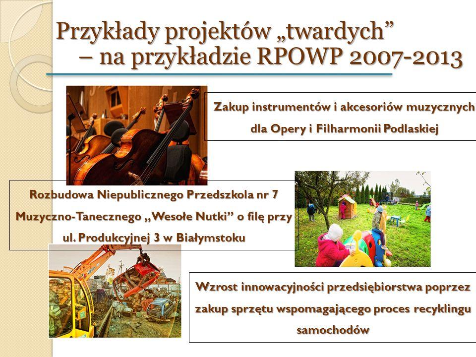 """Przykłady projektów """"twardych"""" – na przykładzie RPOWP 2007-2013 Zakup instrumentów i akcesoriów muzycznych dla Opery i Filharmonii Podlaskiej Rozbudow"""