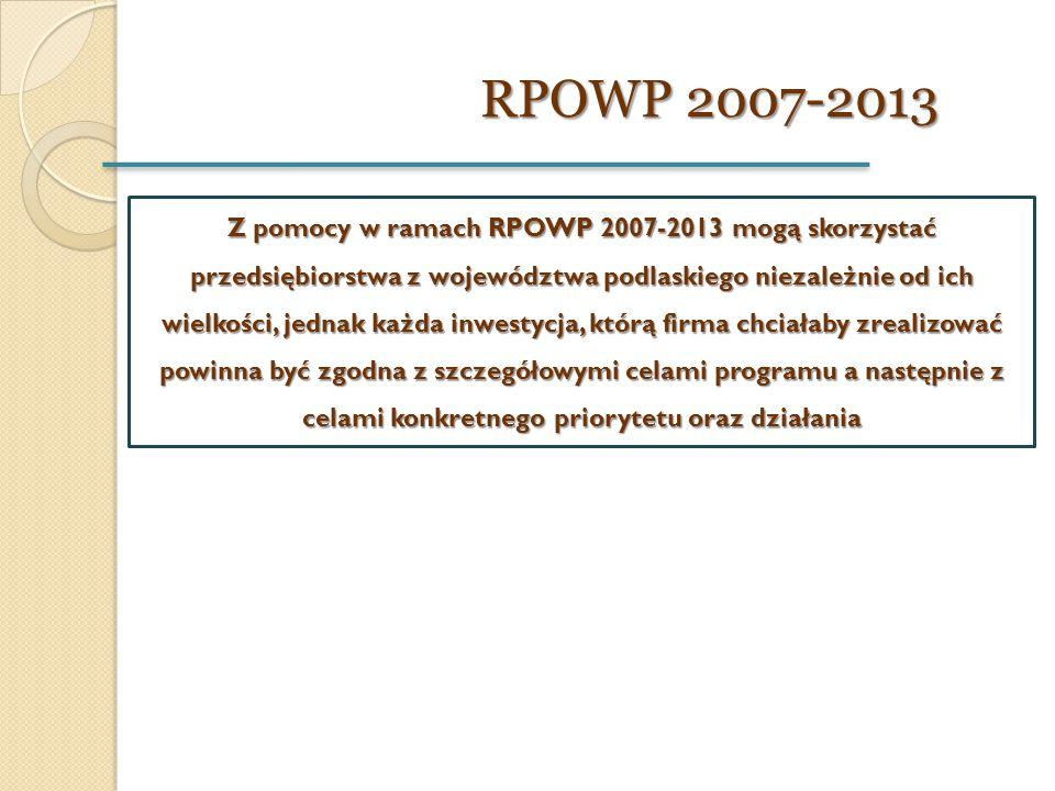 RPOWP 2007-2013 RPOWP 2007-2013 Z pomocy w ramach RPOWP 2007-2013 mogą skorzystać przedsiębiorstwa z województwa podlaskiego niezależnie od ich wielko